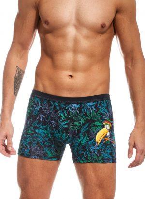 Boxers de homem cumprem todos os requisitos, simplesmente perfeito, são macios como uma pena, com estampados de inspiração tropical em tons de azul, verde e lilás, com um colorido tucano jamaicano.