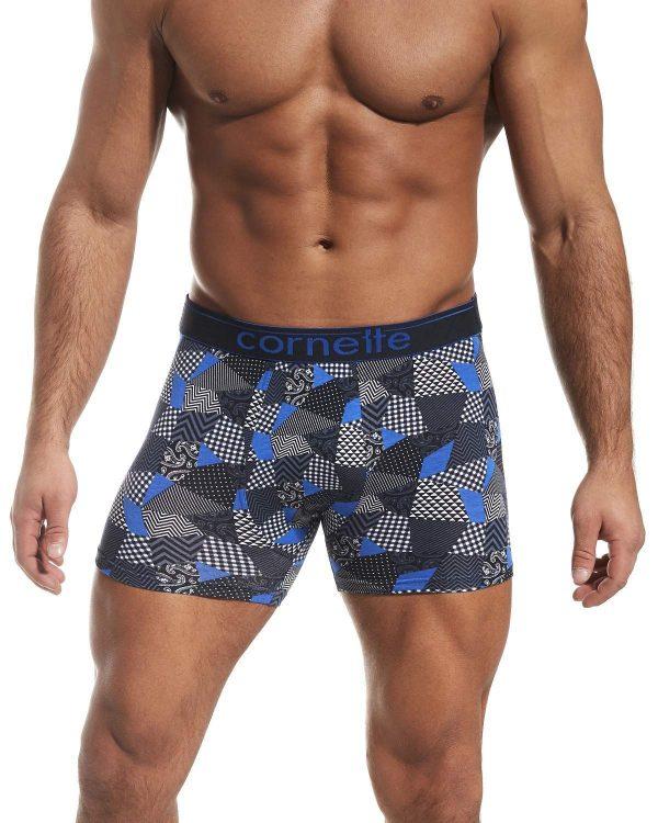 Boxers de homem - simplesmente perfeitos com estampado múltiplas formas geométricas em azul, cinza, preto e branco.