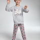 Boy's pajama set with Long sleeve top with plaid elbows and a funny print of the Teddy Bear family, and long plaid pajama bottoms.