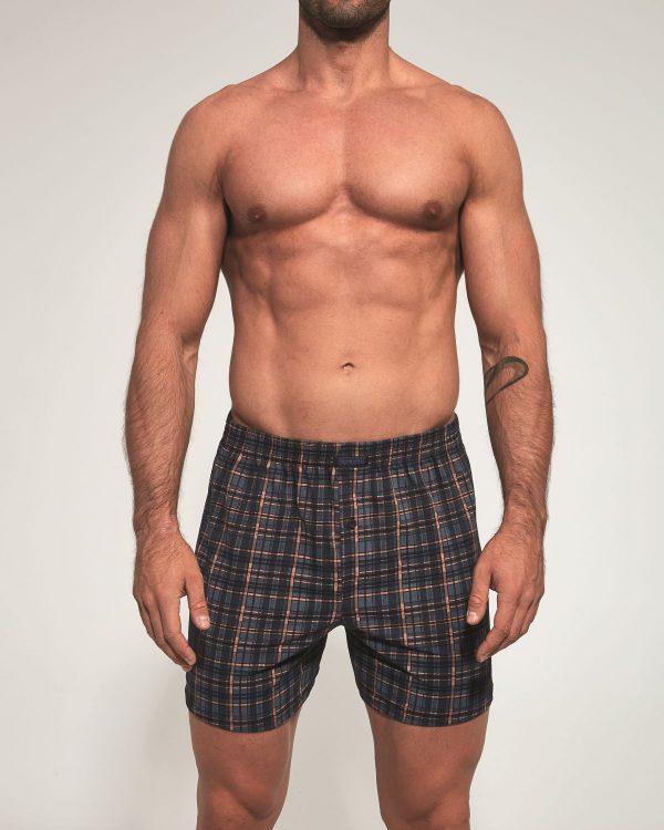 Boxer shorts para homem, com padrão com xadrez preto, cinza e laranja, são suaves ao toque e apresentam um design casual e confortável