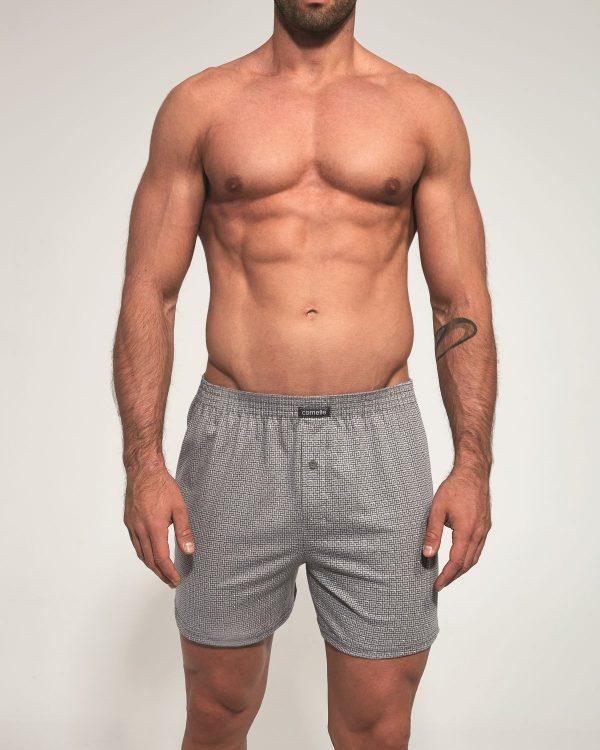 Boxer shorts para homem Comfort, com estampados de formas geométricas cinza, são suaves ao toque e apresentam um design casual e confortável.