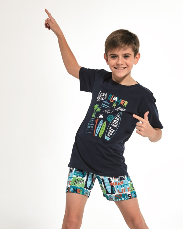Boy's Pajama Set with the blue short sleeve tee and blue, colorful shorts. Matching set dad and son